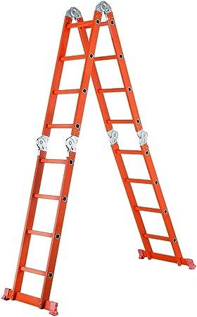 Escalera Plegable Escalera De Aluminio Grueso Escalera De Extensión Multifunción Proyecto De Escalera Recta, Elevador, 4 Uniones, Multiforme, Naranja (Tamaño : Straight ladder 3.7m/folding 1.8m) : Amazon.es: Hogar