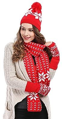 Bienvenu Women's Snowflake Hat Gloves and Scarf Winter Set