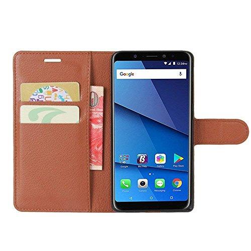 BLU Vivo XL3 PLUS Case, AVIDET Premium Folio Case with [Kickstand] [Card Case] [Magnetic Closure] Flip Cover Case for BLU Vivo XL3 PLUS smartphone (Brown)