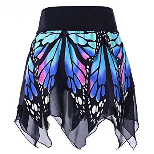 Women Girls Dress up Chiffon Skirt Butterfly Print Irregular Hem Skirts (S, (Flirt Pleats Skirt)