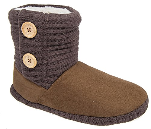 Ladies Coolers Brown Fleece Warm Lined Boot Button Slippers