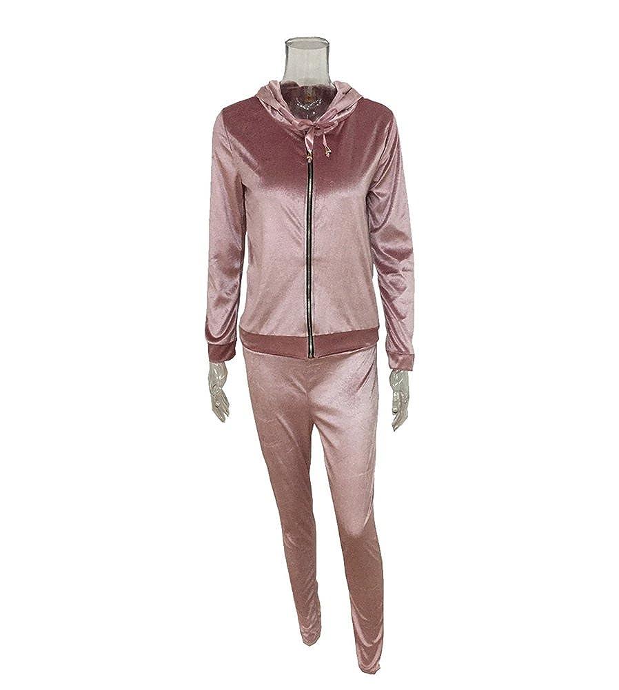 YOUJIA 2pcs Tracksuit Set Sportswear Hoodies Soft Hooded Sweatshirt Cardigan Trousers Pants Jogging Suit