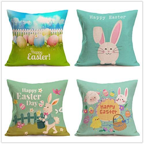Yixuan 4 Packs Cotton Linen Sofa Home Decor Design Throw Pillow Cases Cuhsion Cover 18x18 Inch,4 Kinds of Easter Rabbits (Multi)