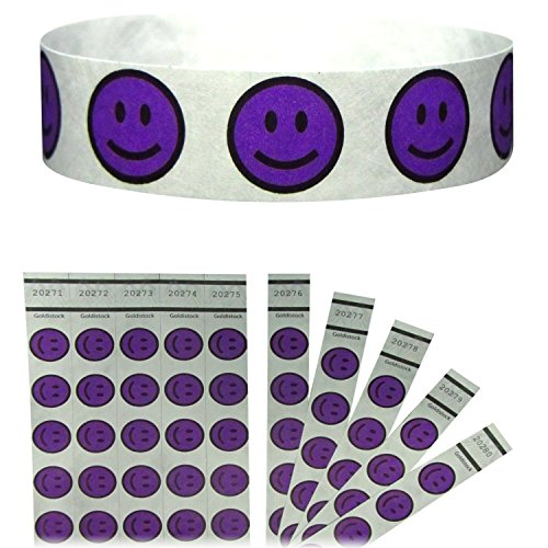 Goldistock Tyvek Wristbands Smiley Purple product image