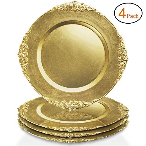 - ChargeIt by Jay Leaf Charger Plates (Set of 4), Gold