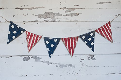 - Swanky Party Box Rustic July 4th Banner, July 4th Decor, Stars and Stripes Patriotic Bunting