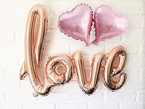 WULEEUPER Love Balloon Banner 42.5 Inches Handwriting Letter Giant Celebration Balloon Romantic Wedding Bridal Shower Anniversary Engagement Party Decoration (Champagne-Gold)
