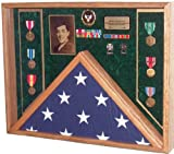 Military Veteran Soldier Flag & Medal Display Case Shadow Box for 5x9.5 Funeral Burial flag (Army Emblem / Green velvet)