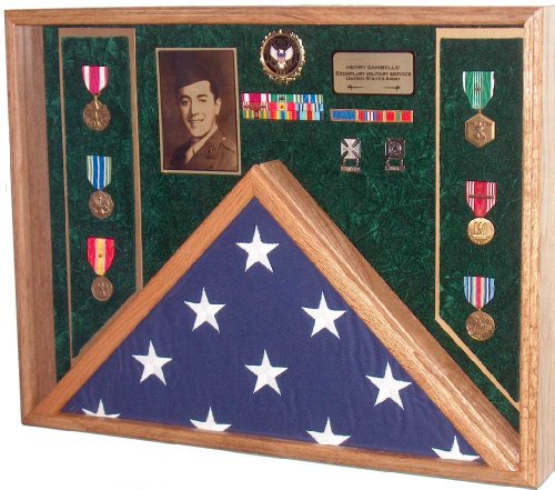 Military Veteran Soldier Flag & Medal Display Case