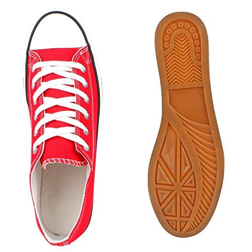 Stiefelparadies Unisex Sneaker Low Herren Damen Kinder Stoffschuhe Schnürer Turnschuhe Sportschuhe Klassische Sneakers Camouflage Denim Schuhe Übergrößen Flandell Rot