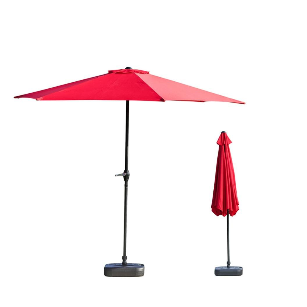 Patio Table Umbrella, Deluxe Outdoor Life Solid Color Patio Umbrellas, PU coated Waterproof And Corrosion Resistant (Red)
