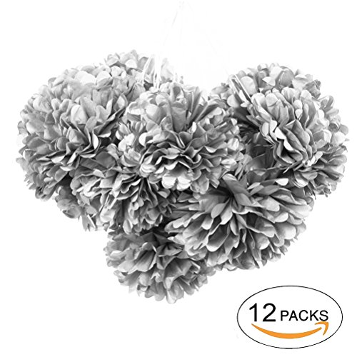 Silver Tissue Flower Paper Flower Party Pom Poms Decoration 10'' 12'',Pack of 12 by MOWO - Harbor Tissue