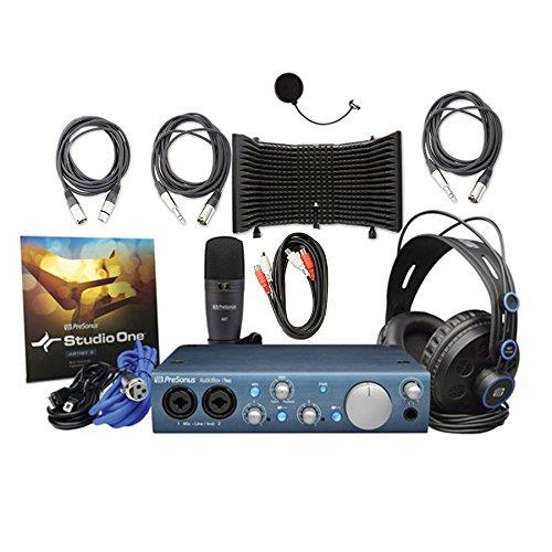 [해외]Presonus AudioBox iTwo 스튜디오 녹음 키트, 마이크 절연 쉴드, MID-203 듀얼 미디 케이블, 2 TRS14-XLR115M 오디오 케이블 및 XLR-XLR20 오디오/Presonus AudioBox iTwo Studio Recording Kit with Microphone Isolation Shield, MID-203 Dual Mid...
