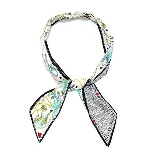 Silk Neckerchief Twilly Scarf for Women Handbag Handle Ribbon Scarf Headbands Hairbands Scarf Bracelet by Bellagione (Scarf Day Bag)