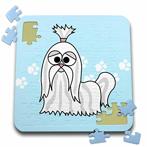 3dRose Janna Salak Designs Dogs - Grey and White Shih Tzu with Paw Prints - 10x10 Inch Puzzle (pzl_6144_2) (Prints Shih Paw Tzu)