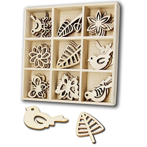 Laser Cut Shapes - 45 Pcs Wood Embellishments-YuQi Laser Cut Birds and Butterfly Ornaments Natural Shapes with Gift Box (Birds & Butterfly)