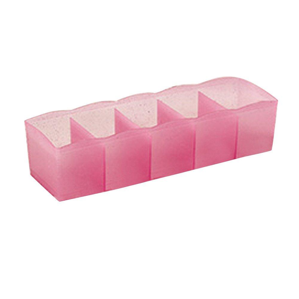 ♚ Rendodon ♚ 5-Cell Multi-Purpose Drawer Finishing Storage Box, Housekeeping Storage Supplies, 5 Cells Plastic Organizer Storage Box Tie Bra Socks Drawer Cosmetic Divider Tidy