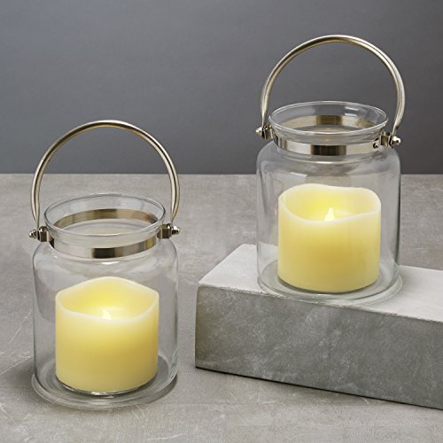 Set of 2 Glass Lantern with Flameless LED Resin Candle