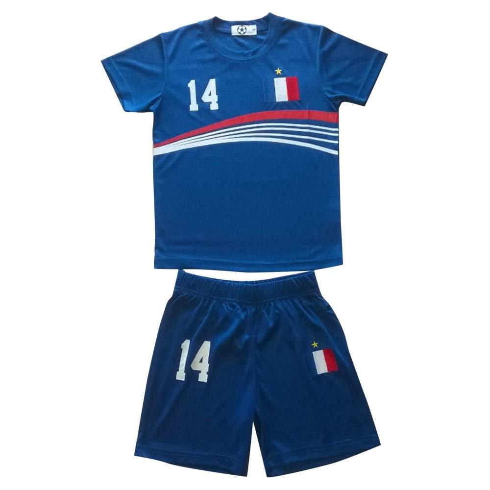 NPZ Ensemble Short et Maillot de Foot France numéro 14 Taille de 4 à 14 Ans