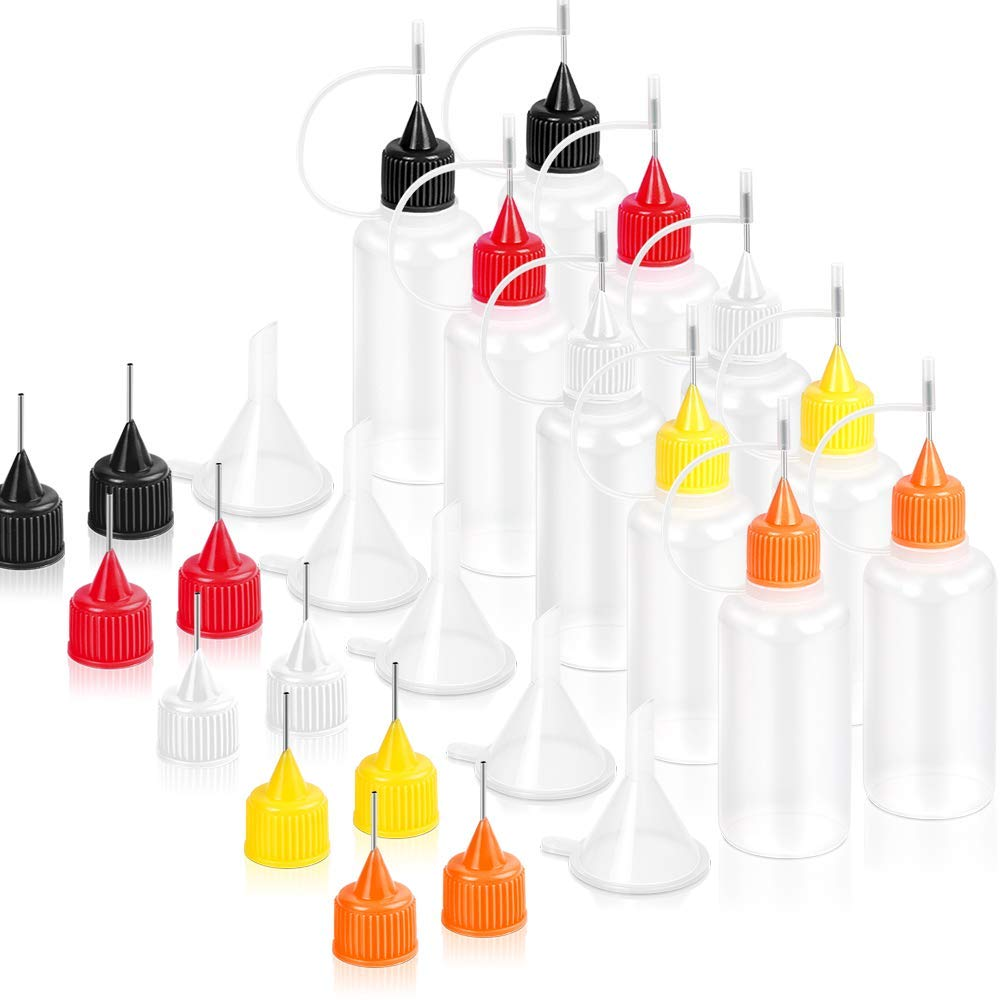 30 ml//1 Ounce Acrylic Painting 10 Pcs Precision Tip Applicator Bottles /& 10 Additional Applicator Tips /& 5 Pcs Mini Funnel Quilling Tool Precision Bottle for DIY Craft