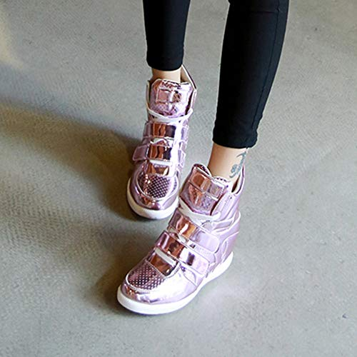 Cuñas ☂☂ Mujer Deportivos Rosa ☂☂☀☀✔✔Zapatos Longra de Cruzadas para tacón Zapatos Redonda de Alto Charol Punta de Botas 0wYqYAHd