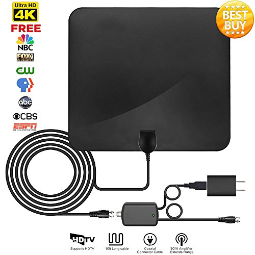 HDTV Antenna, Tmily Indoor Digital TV Antenna Up to 60 Miles Range with Detachable Amplifer Signal Booster, Super Thin & Fireproof for Home Safety, USB Power Supply with High-quality Coax Cable, Black【2018 New Version】