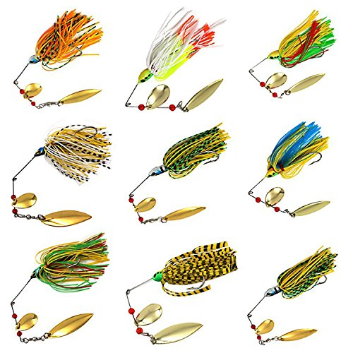 Easy Catch 10Pack 18.4g/0.64oz Mixed Wonderfull Colors Fishing Hard Spinner Baits Lures Kit Spinnerbait Pike Bass with Hand Holographic Painted Blades for Saltwater Fishing