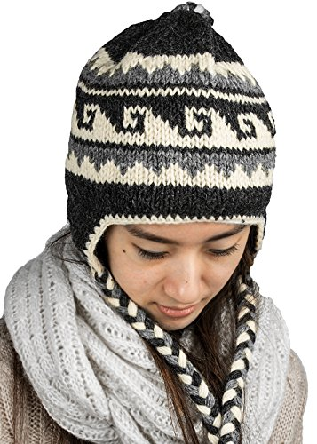 Tribe Azure Fair Trade Soft Warm Wool Hat Cap Winter Fleeced Inside Thick Ear Flaps Women Fashion