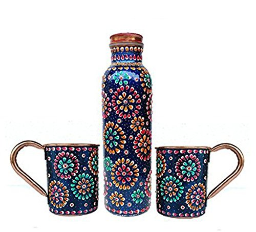 Smirnoff Lime Vodka - Rastogi Handicrafts Handmade Pure Copper Outer Hand Painted Art Work Water Bottle (Joint Free & leak proof) AND Mug - Cup 16 oz (2)