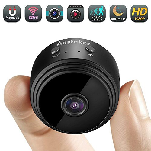 Mini Camera WiFi,Ansteker 1080P Hidden Camera Wireless Portable Home Security Small Cameras Nanny Cam with Motion Detection Night Vision Oldblack
