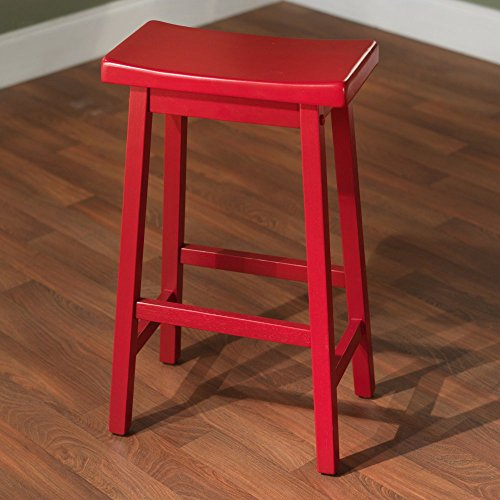 Target Marketing Systems 30-Inch Arizona Wooden Saddle Stool, (Red Saddle Seat Bar Stool)