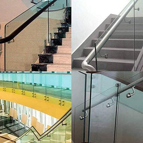 Jueyan® 5 Unidad Soportes de Baranda Barandilla Pasamanos de Escalera de Acero Inoxidable Soporte de Pared para Escalera Escalera Decorativa,90 Grados,Acero Inoxidable 304,Plata: Amazon.es: Hogar