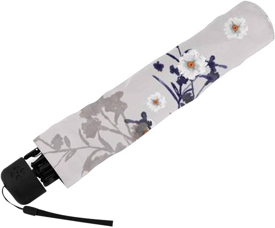 InterestPrint Custom Blue Floral Pattern Anti Sun UV Foldable Travel Compact Umbrella