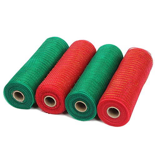 LaRibbons Deco Poly Mesh Ribbon - 10 inch x 30 feet Each Roll - Metallic Foil Red and Green Rolls for Wreaths, Swags and Decorating - 4 Pack (Christmas Deco Green Wreaths Mesh)