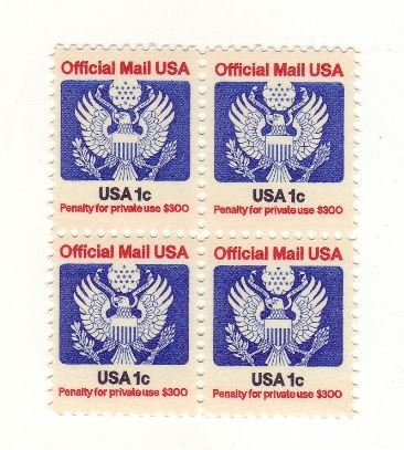 US official mail- Mint plate block of 4 stamps- 1983 1 cent Scott# (Official Plate Block)