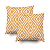 ROOLAYS Decorative Throw Square Pillow Case Cover 16X16Inch,Cotton Cushion Covers Ikat pattern tile Both Sides Printing Invisible Zipper Home Sofa Decor Sets 2 PCS Pillowcase