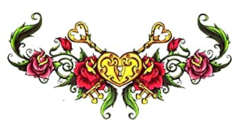 Heart locket lower back temporary body art for The girl with the lower back tattoo review