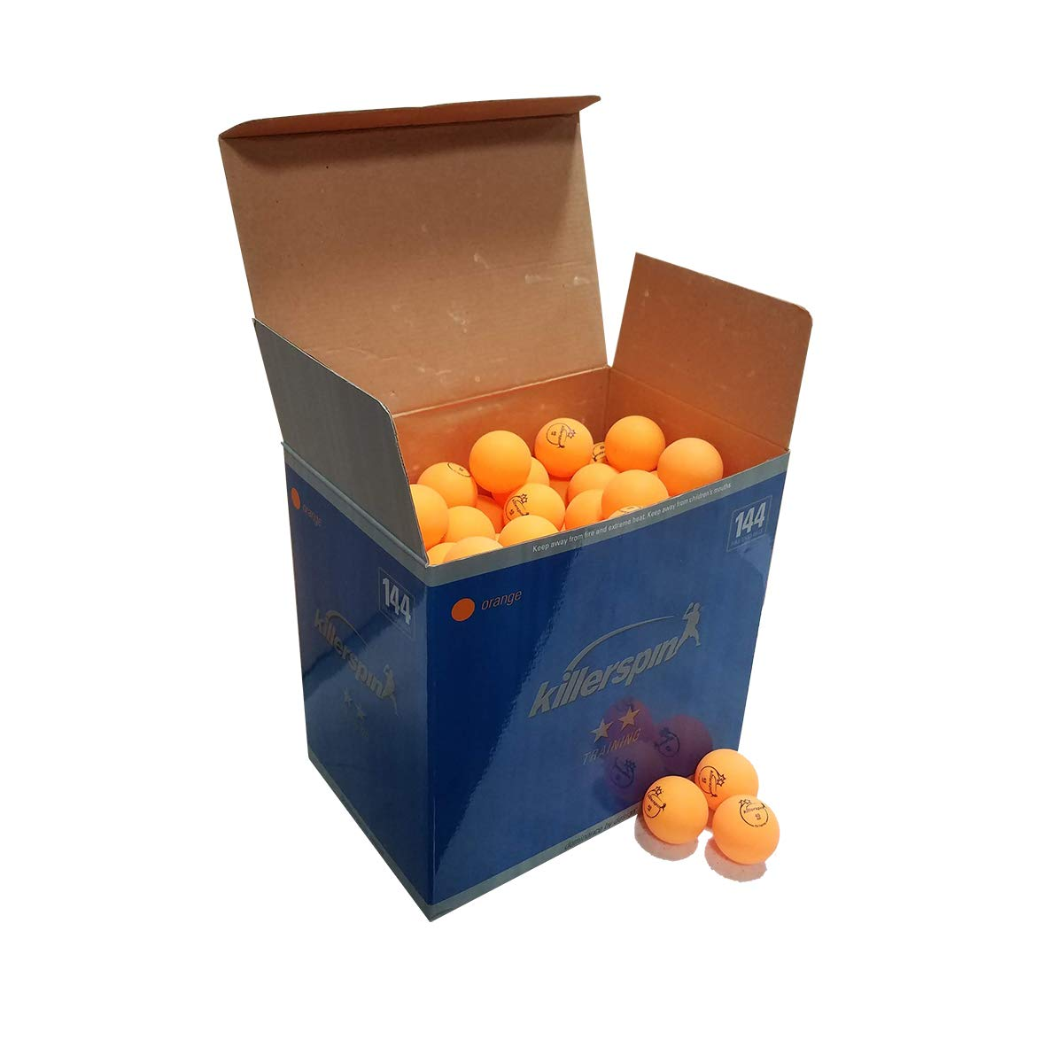 Killerspin 2 Star Training Table Tennis Balls, 144-Pack, Orange