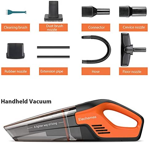 Elechomes Handheld Vacuum, 7Kpa Cordless Lightweight Hand Vacuum with Floor Head, Wet and Dry Powerful Cyclonic Vacuum Cleaner with Washable HEPA Filter for Home and Car Clean, Fast Charging Tech