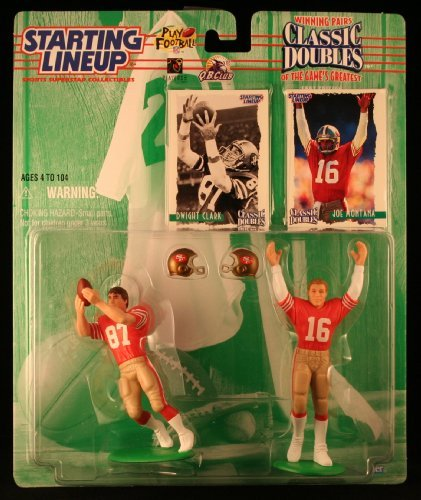 JOE MONTANA / SAN FRANCISCO 49ERS & DWIGHT CLARK / SAN FRANCISCO 49ERS 1997 NFL Classic Doubles * Winning Pairs * Starting Lineup Action Figures & Exclusive Collector Trading Cards