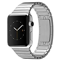 Eoso Stainless Steel Replacement Smart Watch Band Link Bracelet with Double Button Folding Clasp for 38mm Apple Watch All Model(Bracelet Silver,38mm)