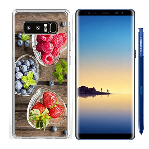 Luxlady Samsung Galaxy Note8 Clear case Soft TPU Rubber Silicone IMAGE ID: 41294551 Mix of fresh berries in three glass ramekins in shape of heart on wooden background top vi ()