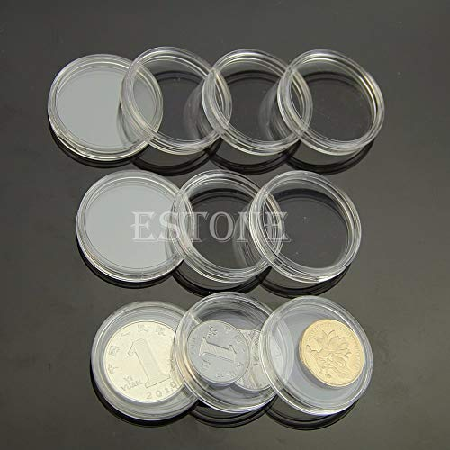 Coin Storage - 10pcs Applied Clear Round Cases Coin Storage Capsules Holder Plastic 28mm - Storage Flips Bags Display Double Assorted Holder Cent Pages Tray Capsules Dollars Plastic Quarter