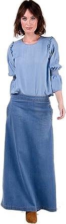 Wash Clothing Company Lottie Falda Vaquera Larga - Luz Azul ...