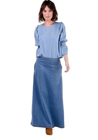 Wash Clothing Company Lottie Falda Vaquera Larga - Luz Azul Falda ...