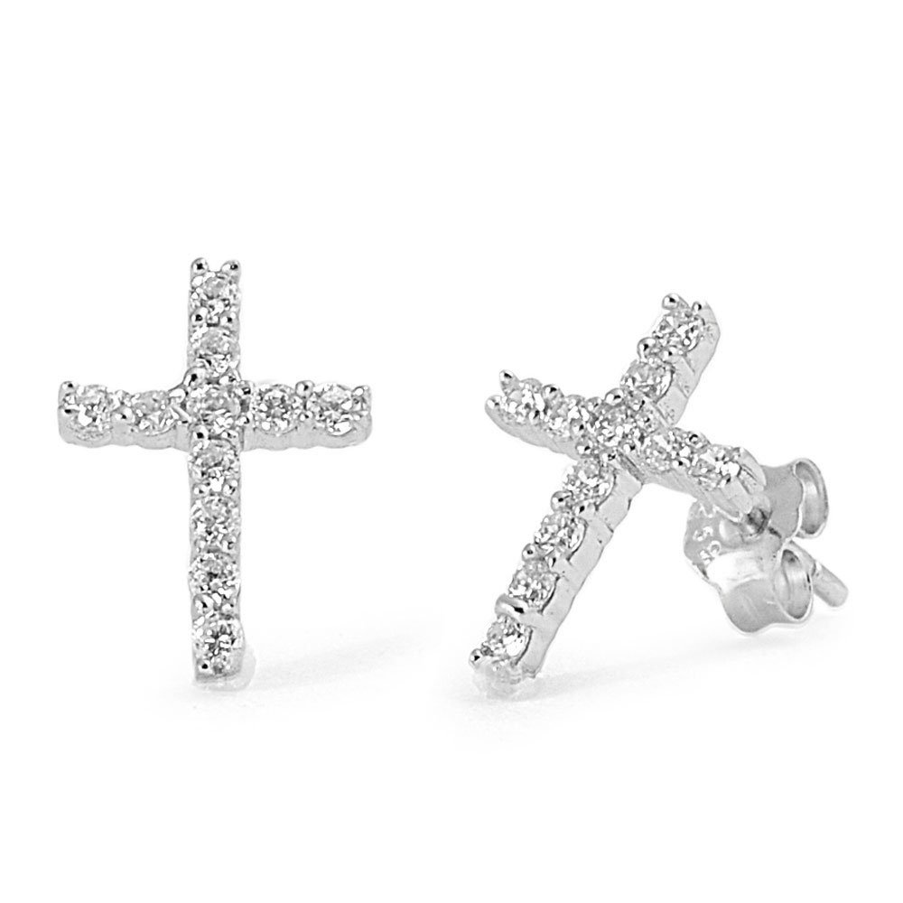 Color Options Cubic Zirconia Classic Cross Earrings Sterling Silver
