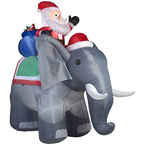Home Accents Holiday 88.58 in. W x 122.05 in. D x 125.98 in. H Lighted Inflatable Santa on Elephant Scene by Home Accents (Image #1)