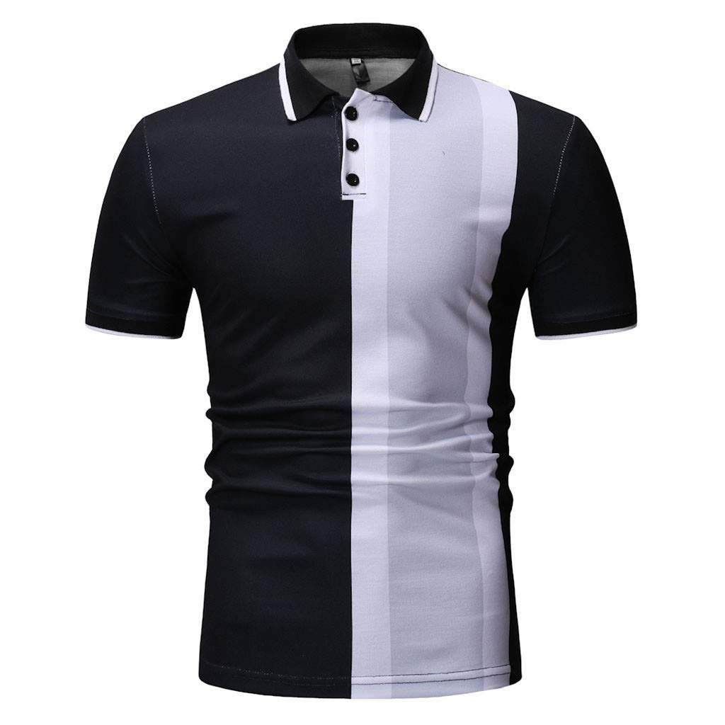 Toaimy Spring Winter Stand Collar Fashion Casual Short Sleeve Spell Color Slim Top for Men