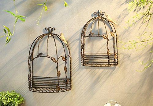 Vintage jaula de hierro colgando media flor receptáculo de pared ...
