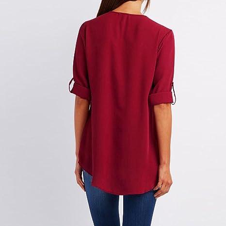 ❤ Amlaiworld Blusa de manga larga Tops floja de moda para mujer de gasa cami tops de verano Camisa ropa de playa Camisetas (Rojo, XL): Amazon.es: Hogar